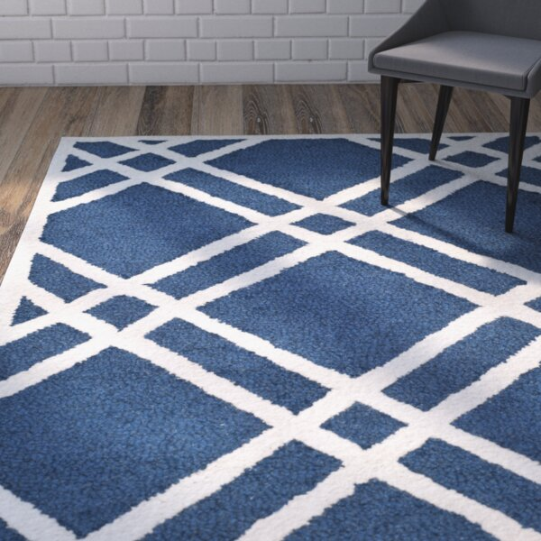 Martins Hand-Tufted Wool Navy Blue/Ivory Area Rug by Wrought Studio