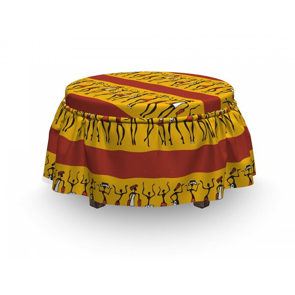 African Dancing People 2 Piece Box Cushion Ottoman Slipcover Set By East Urban Home