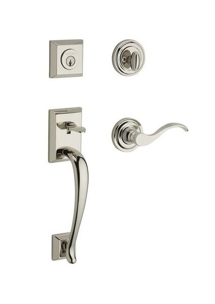 Napa Single Cylinder Handleset with Curve Door Lever and Traditional Round Rose by Baldwin