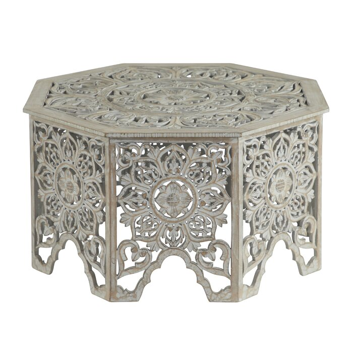Bungalow Rose Grey Washed Decorative Carved Wood Coffee Table 33