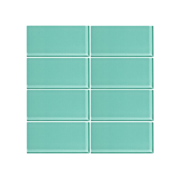 3 x 6 Glass Subway Tile in Bermuda Blue (Set of 6) by Vicci Design