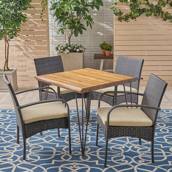Henrik 5 Pieces in Set Teak Dining Set by Bungalow Rose