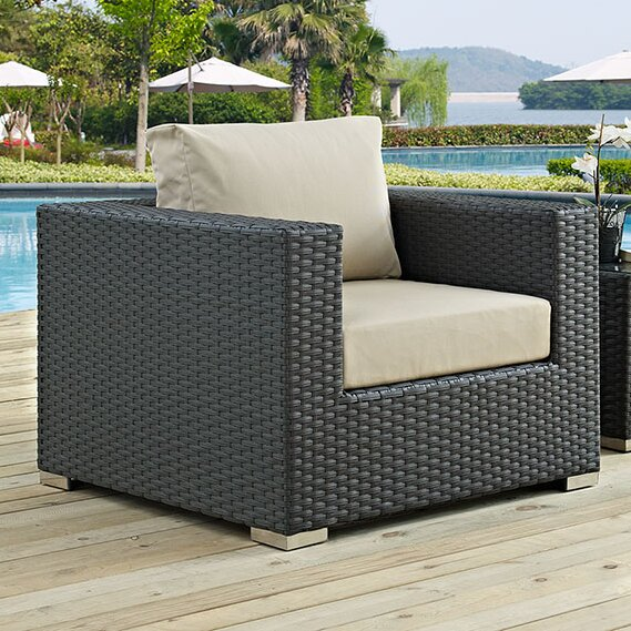 Tripp Outdoor Patio Arm Chair with Cushions by Brayden Studio