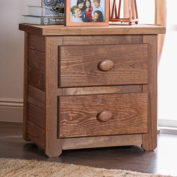 Walpole Wooden 2 Drawer Nightstand by Millwood Pines
