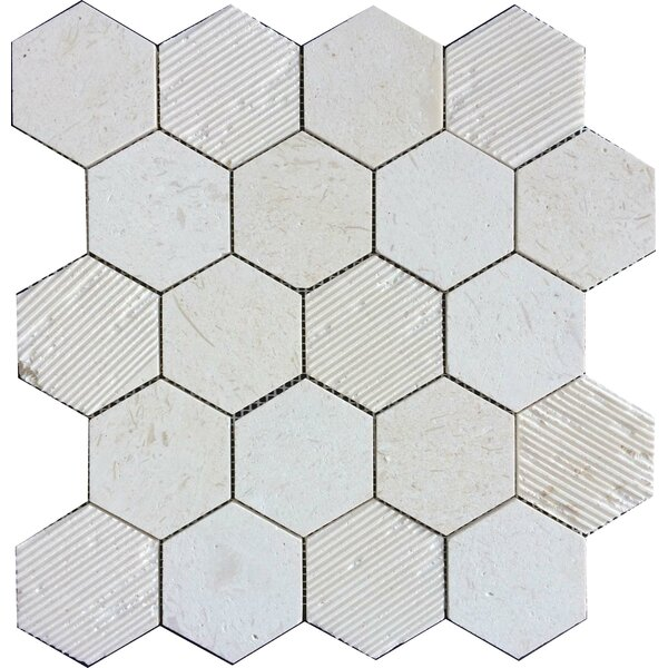 Hex Honeycomb 3 x 3 Mosaic Tile in Corinthian Fossil by Ephesus Stones