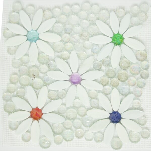 Signature Line Daisy Garden Glass Mosaic Tile in White/Green by Susan Jablon