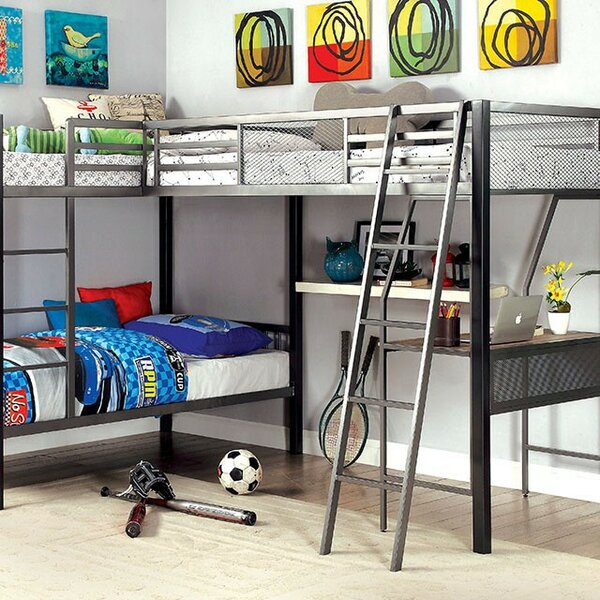 Ruggeri Twin L Bunk Bed with Shelves by Harriet Bee