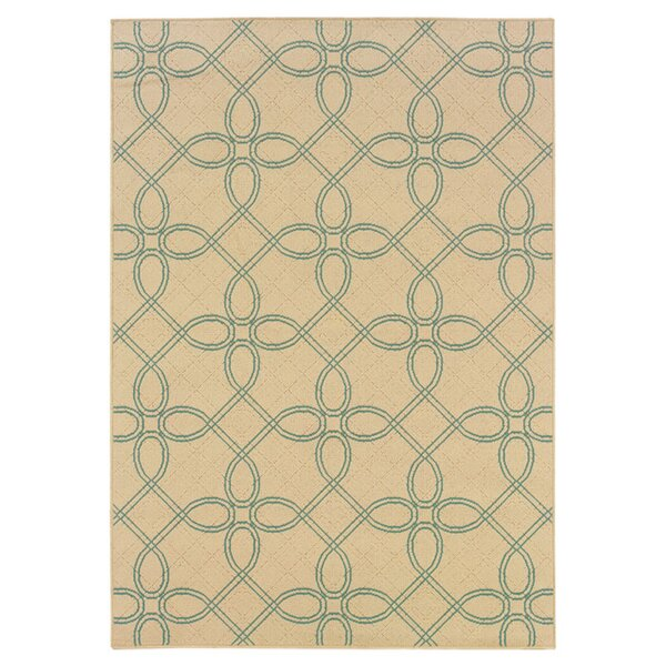 Ceasar Ivory/Blue Indoor/Outdoor Area Rug by Winston Porter