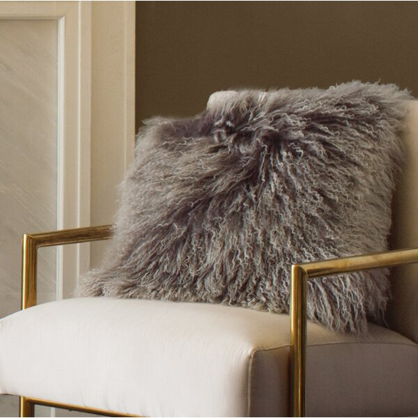 Becky Mongolian Fur Throw Pillow by Zipcode Design