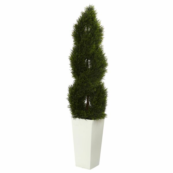 Double Pond Spiral Artificial Floor Cypress Topiary in Planter by Orren Ellis