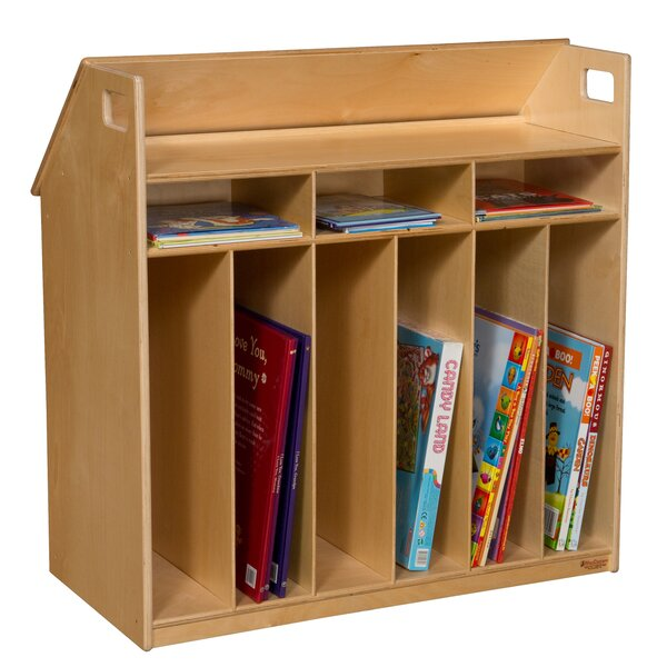 Portable 9 Compartment Book Display with Casters by Wood Designs