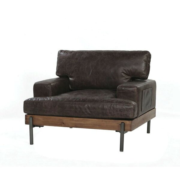 Toulouse Vintage Leather and Wood Armchair by 17 Stories