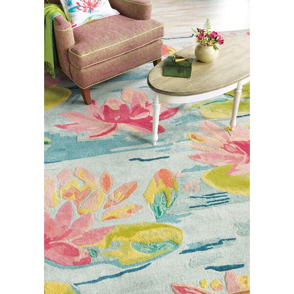 Water Lilies Hand Tufted Pink/Blue Area Rug by CompanyC