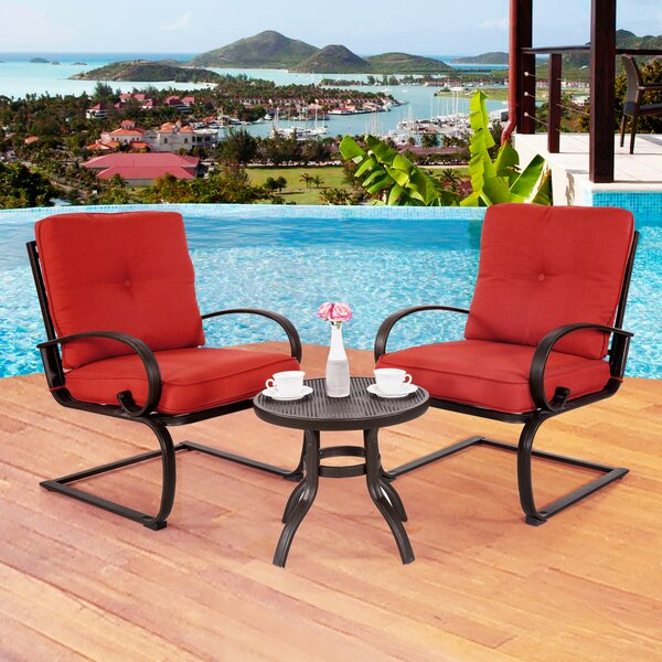 Courtois Outdoor 3 Piece Conversation Set with Cushions by Fleur De Lis Living