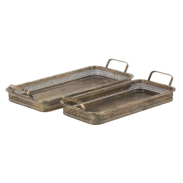 Chasha Rustic Pierced Rectangular 2 Piece Accent Tray Set by Bloomsbury Market
