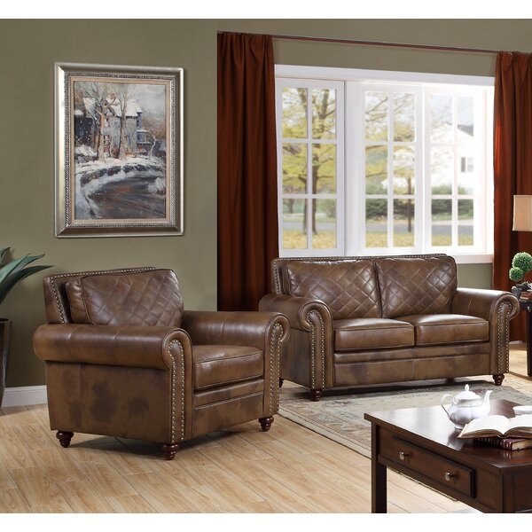Drexler 2 Piece Leather Living Room Set by Darby Home Co