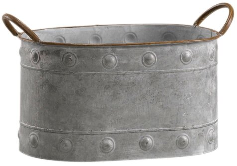 Squire Oval Tin Metal Pot Planter with Handle by Williston Forge