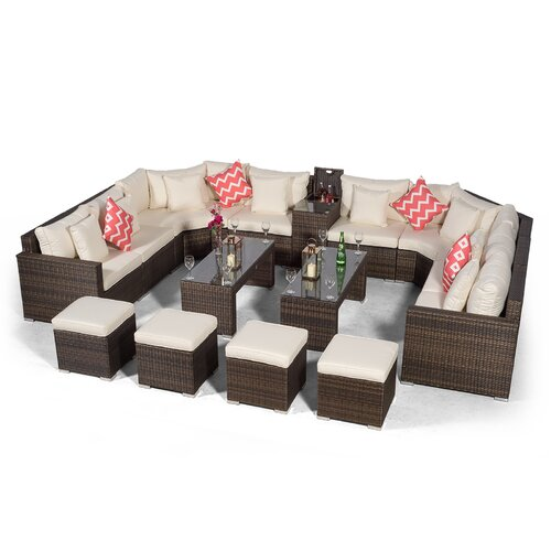 Villasenor Brown Rattan U Shape 8 Seat Sofa With 2 X 2 Stool