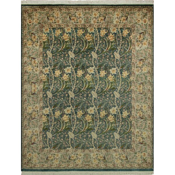 One-of-a-Kind Mickey Hand Knotted Wool Green Area Rug by Isabelline
