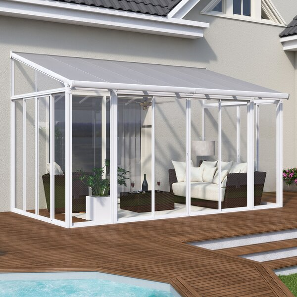 San Remo Patio 14 Ft. W x 10 Ft. D Aluminum Wall Mounted Patio Gazebo by Palram