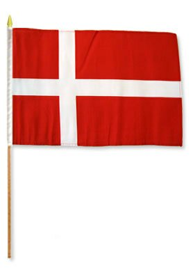 Denmark Traditional Flag and Flagpole Set (Set of 12) by Flags Importer