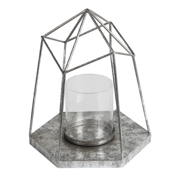 Metal and Glass Lantern by Mercury Row