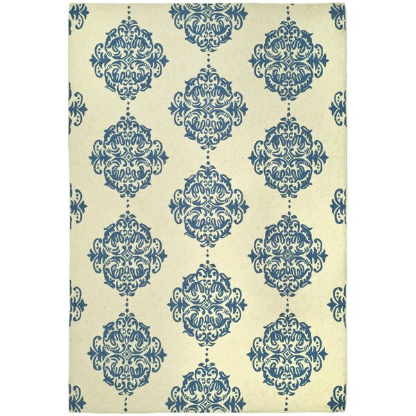 Chelsea Ivory/Blue Area Rug by Darby Home Co