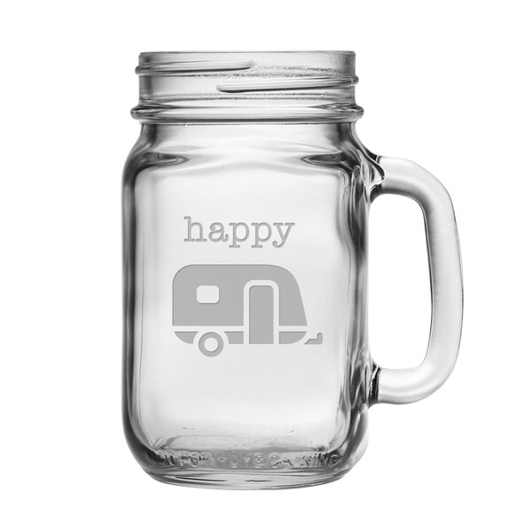 Happy Camper 16 oz. Drinking Jar (Set of 4) by Susquehanna Glass
