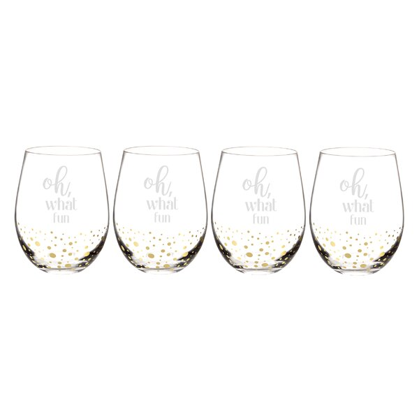 Oh What Fun 19 oz. Stemless Wine Glass (Set of 4) by Cathys Concepts