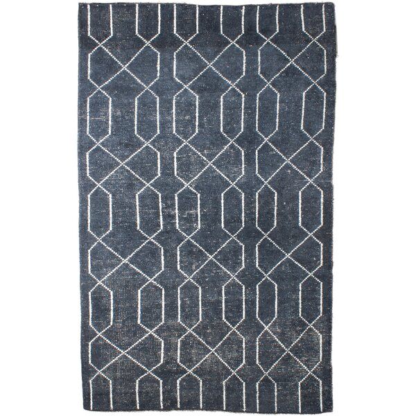 Jaden Hand Woven Blue Ivory Area Rug by Everly Quinn
