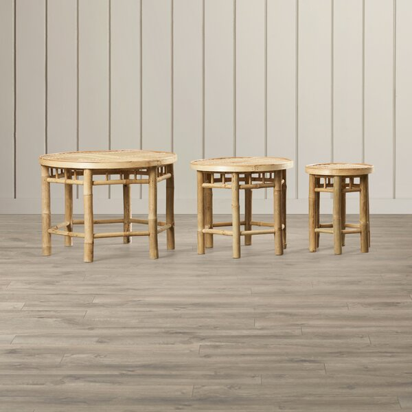 Porter Natural Bamboo 3 Piece Accent Stool Set by Bay Isle Home