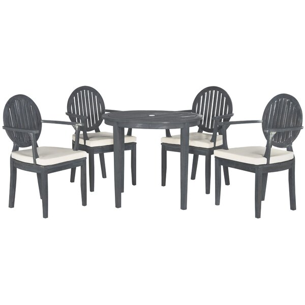 Chilhowee 5 Piece Teak Dining Set with Cushions by Greyleigh