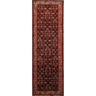 Order One-of-a-Kind Bannruod Hamedan Vintage Persian Geometric Hand-Knotted Runner 3'6 x 10'7 Wool Black/Burgundy Area Rug By Isabelline
