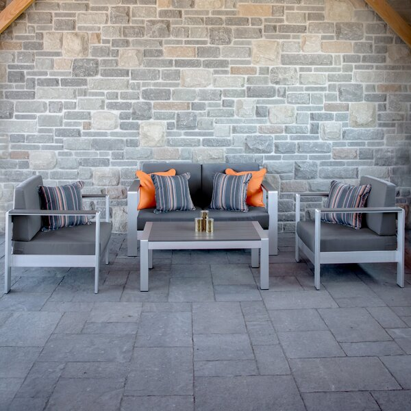 Wooley 4 Piece Sofa Seating Group with Sunbrella Cushions by Orren Ellis