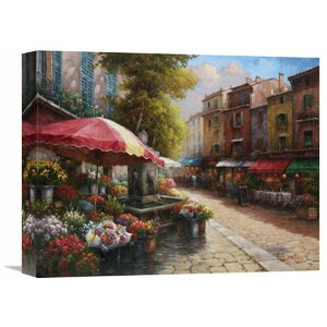 Flower Market Cafe' by Han Chang Painting on Wrapped Canvas by Global Gallery
