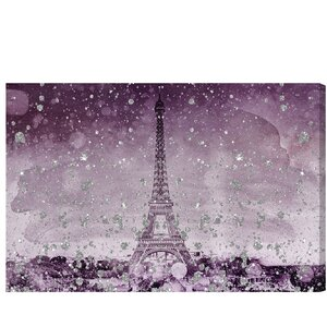 Eiffel Glitter Plum Graphic Art on Wrapped Canvas by House of Hampton
