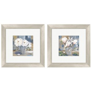 Cottage Rose Framed 2 Piece Drawing Print Set (Set of 2) by PTM