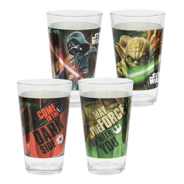 Star Wars Darth Vader and Yoda 2 Piece 16 oz. Glass Every Day Glass Set by Vandor LLC