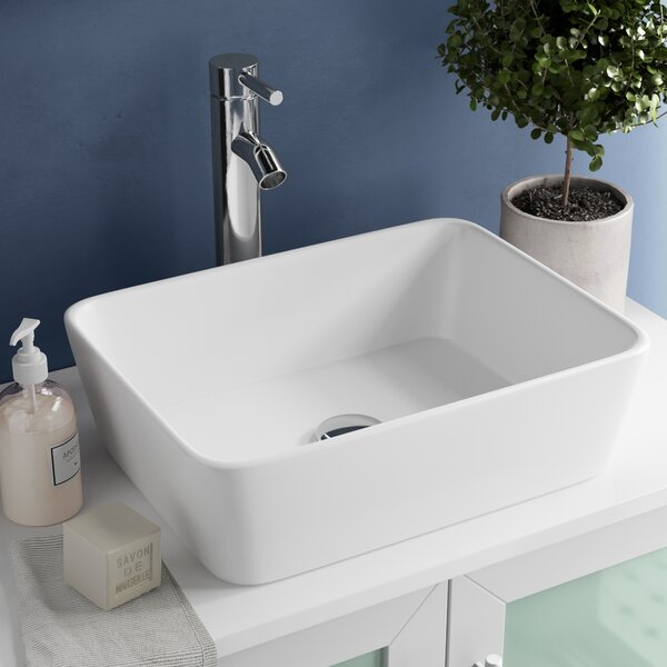 Ceramic Rectangular Vessel Bathroom Sink by Kraus