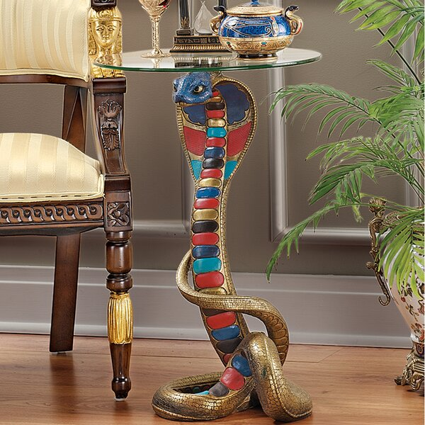 Renenutet Egyptian Cobra Goddess Glass Topped End Table by Design Toscano