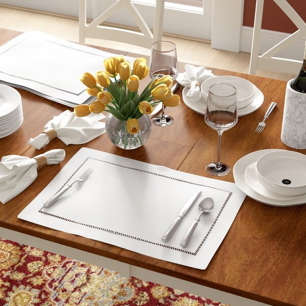 Winnetka Rectangular Hemstitched Border 14 Placemat (Set of 12) by Three Posts