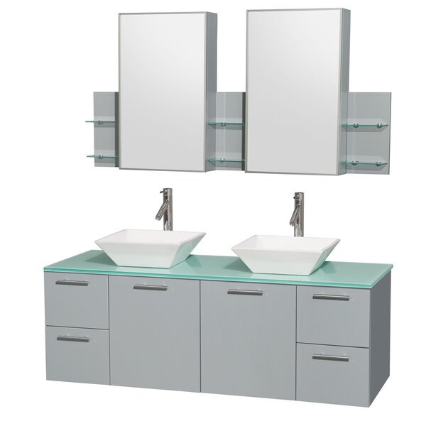 Amare 60 Double Oyster Gray Bathroom Vanity Set with Medicine Cabinet by Wyndham Collection