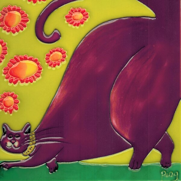 Lavender Cartoon Cat Tile Wall Decor by Continental Art Center