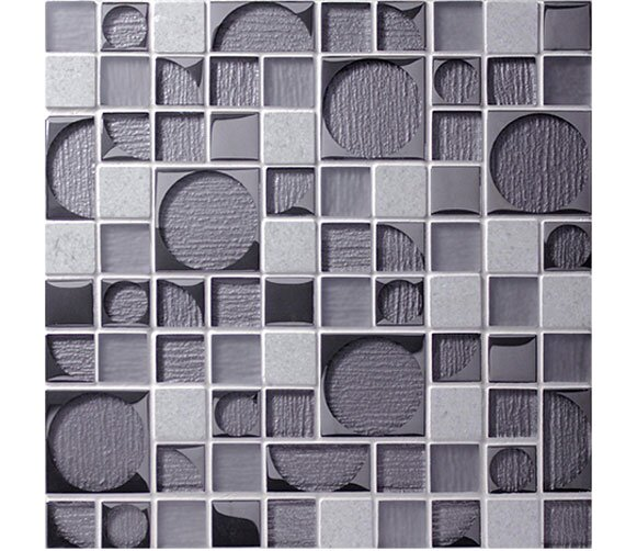Bombshell Hydro Random Sized Glass Mosaic Tile in Gray by Tile Focus