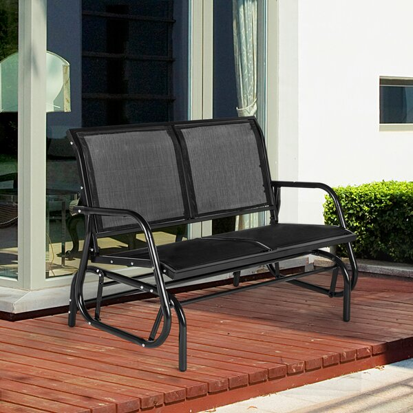 Egremont 2 Seats Outdoor Swing Metal Glider Bench by Freeport Park
