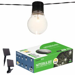 Outdoor string lights youll love wayfair nitebulbs solar 10 light globe string lights mozeypictures Image collections