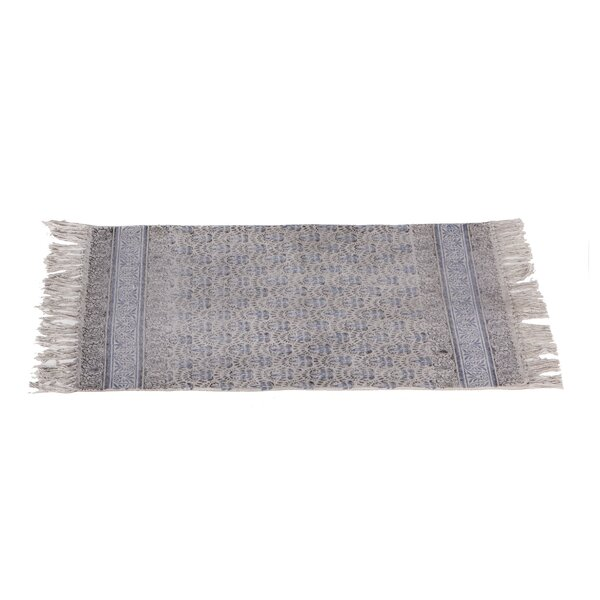 Zoila Cotton Gray/Indigo Henna Area Rug by Ophelia & Co.