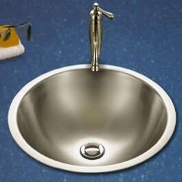 Compare Club Metal Circular Undermount Bathroom Sink with Overflow By Houzer