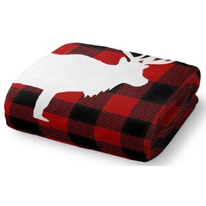 deer plaid fleece throw blanket