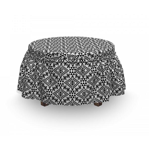 Tribal Folk Aztec Geometric 2 Piece Box Cushion Ottoman Slipcover Set By East Urban Home